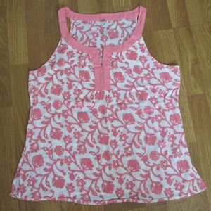 L Old Navy Sleeveless Coral White Tank Top
